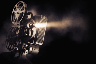 Movie projector on dark background