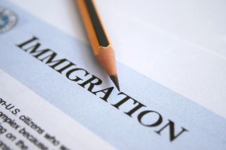 Close-up of an immigration form and #2 sharp pencil